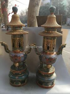 Pair 38'' red copper cloisonne gold flowers nine dragon pagoda incense burner
