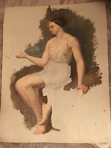 Unfinished unsigned original Oil on Canvas Antique painting of a woman ? artist