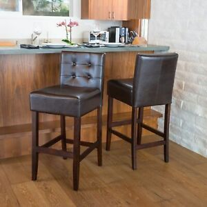 Gregory Brown Leather Back 30-Inch Bar Stools (Set of 2)