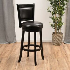 Kyle Brown Leather Swivel Backed Barstool