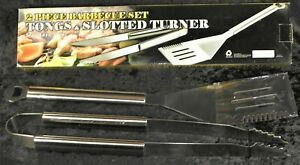 2 Piece Stainless Steel BBQ Barbecue Set Tongs Slotted Turner Heavy Duty - NIB