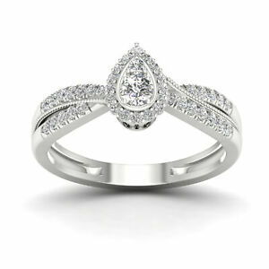 10k White Gold 13ct TDW Diamond Pear Shape Halo Engagement Ring