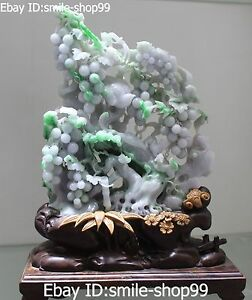Natural Jadeite Emerald Handmade Carving Fruits Grape Birds Wood Base Statue