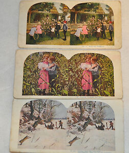3 Antique Stereo view Stereoscope Ingersoll Country Snow $18.99
