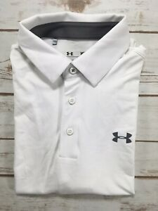 Mens Under Armour Polo Playoff Golf Shirt White M XL 2XL 3XLT 1253479 DEFECTS