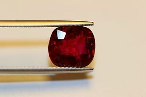 RUBY  UNHEAT 4cts+ PLUS COLLECTORS ITEM GORGEOUS CUSHION NEW ARRIVAL