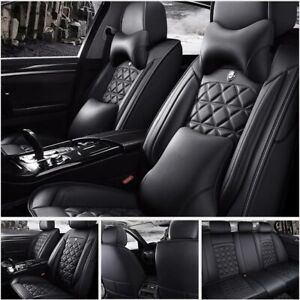 Car Seat Cover PU Leather 100% 5-Seat SUV Cushions Set Front & Rear W/Pillows US