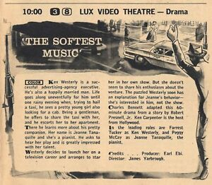 1957 TV AD~LUX VIDEO THEATRE 'THE SOFTEST MUSIC' FORREST TUCKER PEGGY McCAY