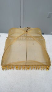 Food Tent Cover Gold Lame Beaded
