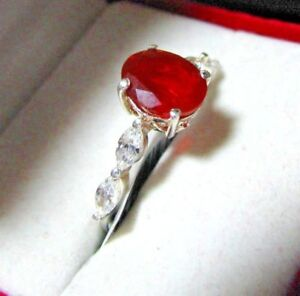 NATURAL CHERRY RED FIRE OPAL STERLING SILVER RING SZ 8.5