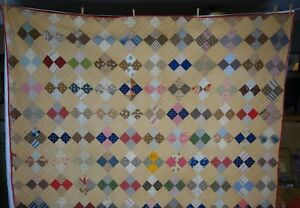 Quilt Signed 1899 Antique On Point Four Patch Quilt Hand Sewn $295.00