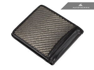 GENUINE AUTOTECKNIC 3D TEXTURED CARBON FIBER BI-FOLD WALLET WITH LEATHER INSERT