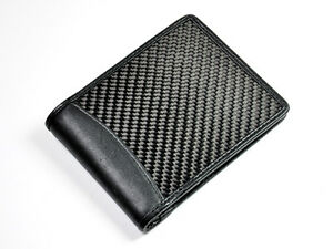 GENUINE AUTOTECKNIC REAL BLACK CARBON FIBER BI-FOLD WALLET WITH LEATHER INSERT