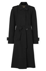 New Authentic Burberry Crostwick Side Slit Tropical Gabardine Trench Coat Black