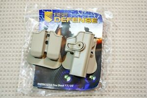 RSR Defense Glock 17/22 Roto-Paddle Holster w/Double Mag Pouch, Tan, Retention