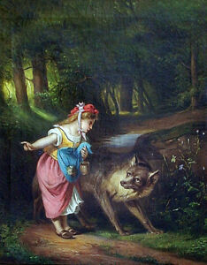 S p R i n G  s A L e  French Artwork EUGENE LEJEUNE 'Red Riding Hood'  30