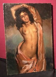 JOSE CRUZ HERRERA Vintage Signed Oil Painting 'Beautiful Young Nude'