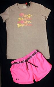 NWT~GIRL'S UNDER ARMOUR...YOUTH X-LARGE 18-20...SHORTS & TOP LOOSE FITHEAT-GEAR