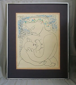 Pablo Picasso 'La Maternite' 1963 color Lithograph signed and dated