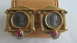 FineEstate18kSolid GoldRuby Dimonds Ancient Roman Coin Earrings by Nino Veruti