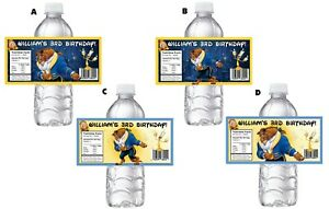 20 Beauty & The Beast PERSONALIZED BIRTHDAY PARTY FAVORS WATER BOTTLE LABELS