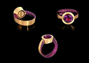 Mousson Atelier Fine Ring Kaleidoscope Yellow Gold Amethyst Enamel NEW