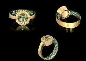 Mousson Atelier Ring Kaleidoscope Y/Gold Yellow Sapphires Green Amethyst NEW