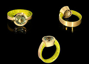 Mousson Atelier Fine Ring Kaleidoscope Yellow Gold Green Tourmaline Enamel NEW