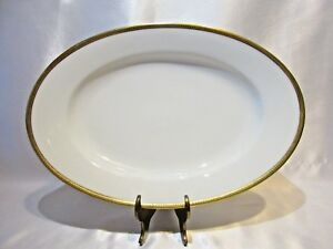 ELITE WORKS LIMOGE OVAL SERVING PLATTER BAWO & DOTTER BWD25 GOLD ENCRUSTED