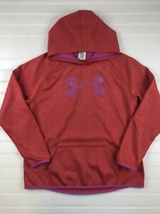 Youth Girl's Under Armour Pullover Fleece Hoodie size XL Orange Pink Coral  P109