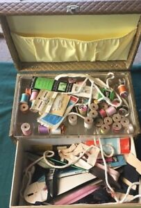 Vintage Sewing Box Kit FULL Supplies Thread Crafts Zippers $72.99