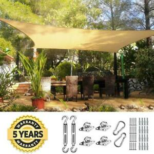 Quictent 20'x16' Rectangle Sun Shade Sail Patio Sand with Free Hardware Kit
