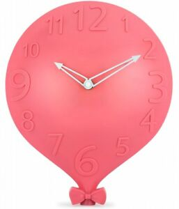Wall Clock for Kids Room Decorative Pink Balloon Design with Large Numbers