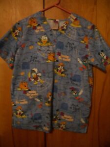 DISNEY Trick or Treat Halloween Size Small Women's medical Scrub Top V NeckBlue