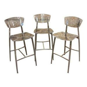 Beautiful Designer Bar Stools set of 3 Lucite & Polished Steel