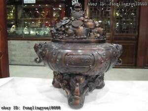Chinese Bronze Copper Feng Shui Money Wealth Treasure bowl Censer Incense burner