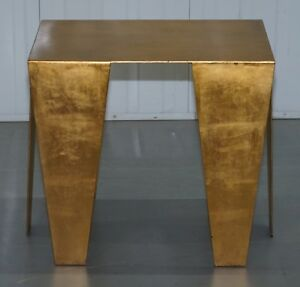 RRP £5875 GOLD LEAF GILT METAL GRAFTON SIDE TABLE DESIGNED BY KELLY WEARSTLER