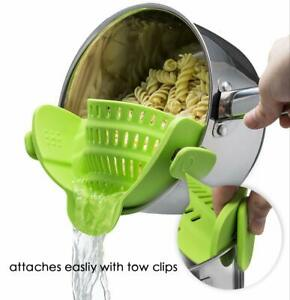 Silicone Clip On Strainer Colander Spout Kitchen Gadget Tool Food Drainer