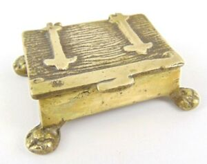 Small 19Th Century Solid Brass Trinket Box with legs - Snuff - Stamps - keepsake