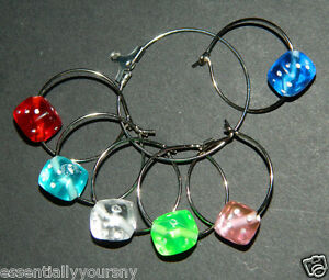 Wine Glass Charms : 6 Colored Dice Drink Markers : Bunco Yatzee Casino Craps