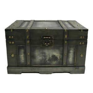 Black Storage Trunk Small Antique Style Distressed Rustic Wood Jewelry Box Chest