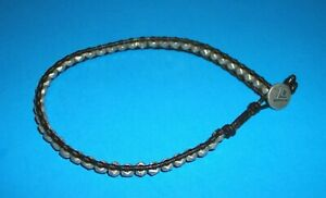 Silpada Sterling Silver Leather + Faceted Beads Bracelet B2083 Rare Men's