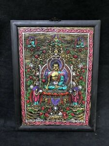 28'' tibetan copper inlay wood handcraft buddhism buddha Thangka mural statue