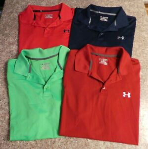4  Men's Solid Under Armour Loose Heat Gear SS Golf Athletic Polo Shirt 2XL