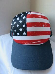 American Flag Trucker Hat Mesh Blue Red White Retro Snapback Baseball Cap
