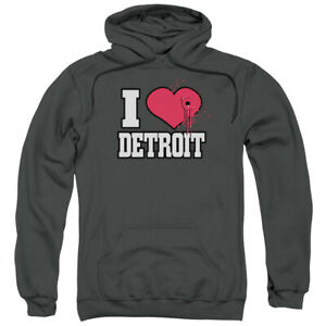 I LOVE (HEART WITH BULLET HOLE) DETROIT Adult Sweatshirt Hoodie