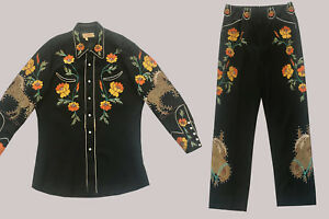 Vintage Western Suit TOURNAMENT OF ROSES Vaquero label Two Piece Embroidered