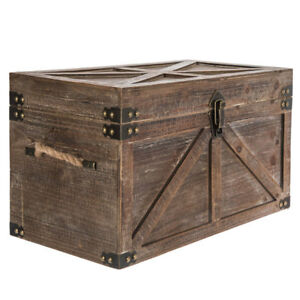 Rustic Storage Trunk Small Distressed Brown Wood Toy Chest Box Laundry Hamper