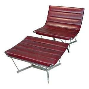 George Nelson Original 1962 Catenary Chair wOttoman -Red Leather