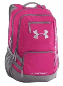 Under Armour Backpack Hustle II Storm1 Tropic Pink  Gray NWT Unisex 1263964 654